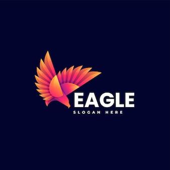 Illustrazione di logo di vettore stile variopinto di gradiente dell'aquila