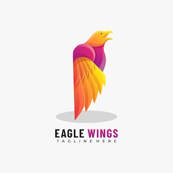 Vector logo illustration eagle wings gradient colorful style.