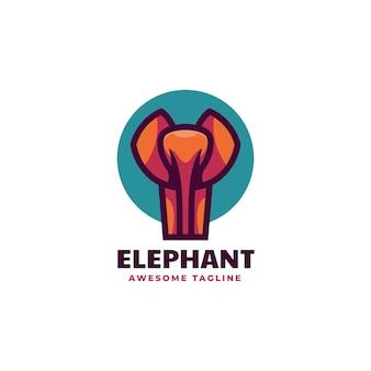 Illustrazione di logo di vettore stile semplice della mascotte dell'elefante