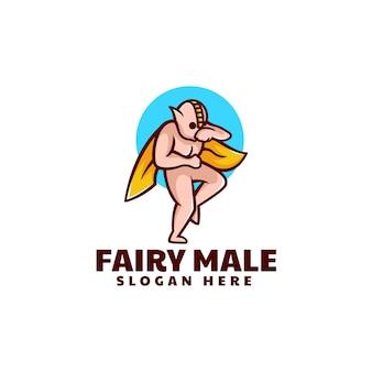 Illustrazione di logo di vettore stile fata mascotte semplice maschio.