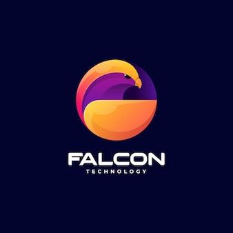 Illustrazione di logo di vettore stile variopinto di gradiente del falco