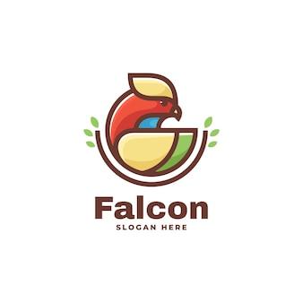 Illustrazione di logo di vettore stile semplice della mascotte del falco
