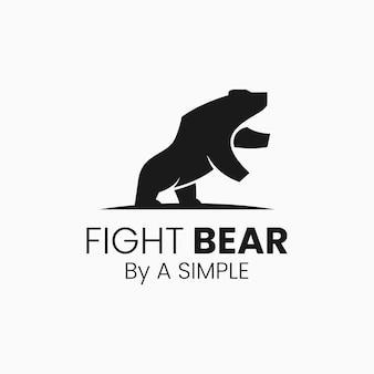 Illustrazione di logo di vettore combatti lo stile della siluetta dell'orso