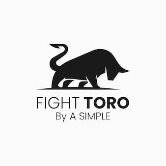 Illustrazione di logo di vettore che combatte lo stile della siluetta del toro