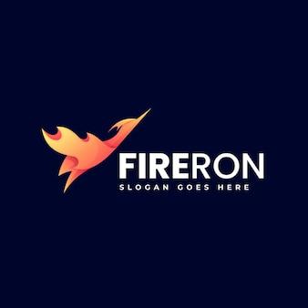 Illustrazione di logo di vettore stile variopinto di gradiente dell'uccello del fuoco