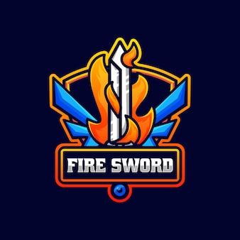 Vector logo illustration fire sword e sport e sport style