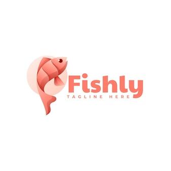 Illustrazione di logo di vettore stile variopinto di gradiente di pesce Vettore Premium
