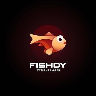 Illustrazione di logo di vettore stile variopinto di gradiente di pesce