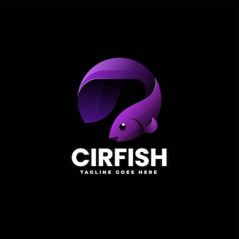Vector logo illustrazione pesce gradiente stile colorato