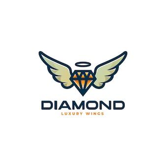Illustrazione logo vettoriale diamante volante stile semplice mascotte