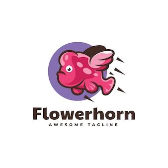 Illustrazione logo vettoriale volare flowerhorn stile semplice mascotte