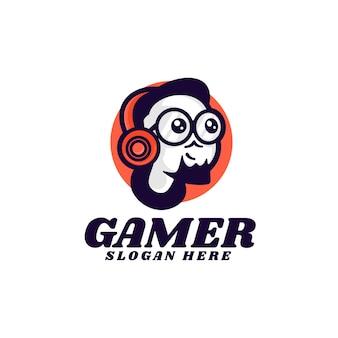 Illustrazione di logo di vettore stile semplice della mascotte del giocatore
