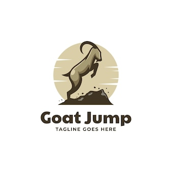 Illustrazione logo vettoriale capra salto stile semplice mascotte