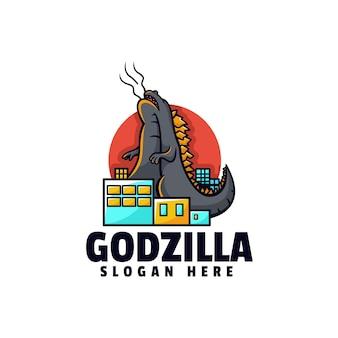 Illustrazione logo vettoriale godzilla stile mascotte semplice