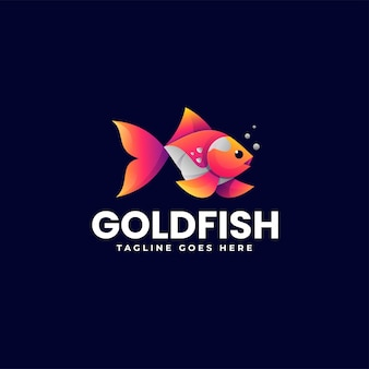 Illustrazione di logo di vettore stile variopinto di gradiente del pesce rosso