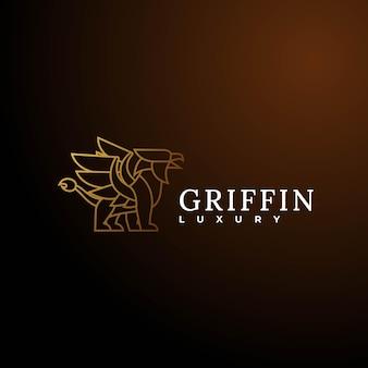Illustrazione di logo di vettore griffin line art style