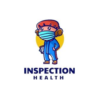 Illustrazione di logo di vettore sano ispettore mascotte stile cartone animato