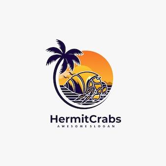 Vector logo illustration hermit crabs land scape vintage badge style.