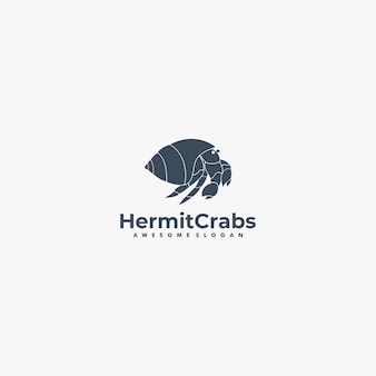 Vector logo illustration hermit crabs silhouette style.