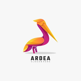 Vector logo illustration heron gradient colorful style.