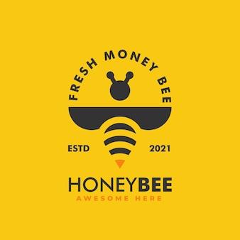 Illustrazione di logo di vettore stile distintivo dell'annata dell'ape mellifica