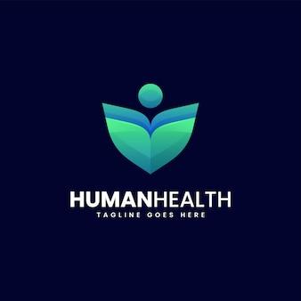 Illustrazione logo vettoriale stile colorato gradiente sano umano