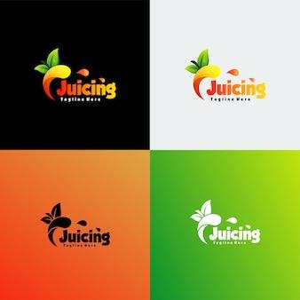 Vector logo illustrazione juicing gradiente stile colorato.