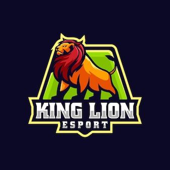 Vector logo illustration king lion e sport e sport style
