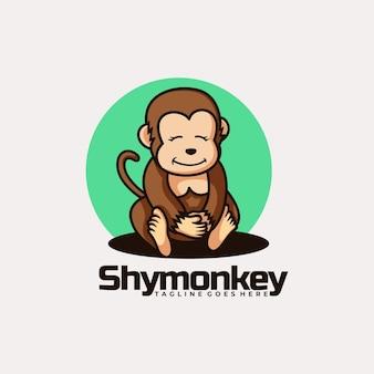 Illustrazione di logo di vettore stile del fumetto della scimmia timida di koala.