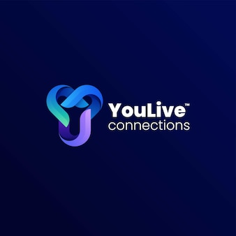 Vector logo illustrazione lettera y gradiente stile colorato