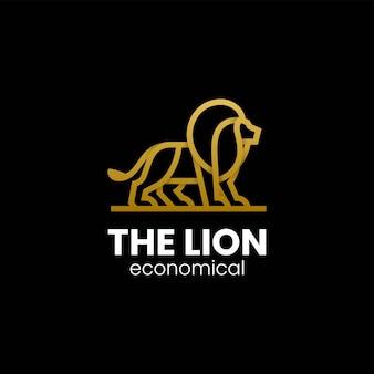 Illustrazione di logo di vettore stile di arte della linea del leone