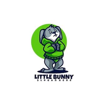 Illustrazione di logo di vettore mascotte del piccolo coniglietto in stile cartone animato
