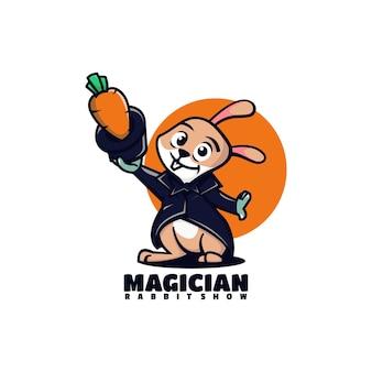 Vector logo illustration mago coniglio mascotte stile cartone animato