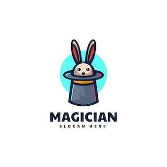Illustrazione di logo di vettore stile del fumetto della mascotte del coniglio del mago.