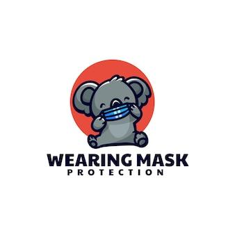 Illustrazione di logo di vettore che maschera lo stile del fumetto della mascotte di koala