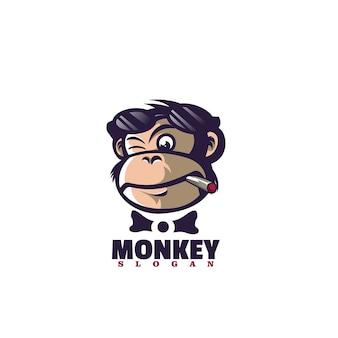 Illustrazione di logo vettoriale mascotte scimmia stile cartone animato