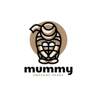 Illustrazione di logo di vettore mummia stile semplice mascotte