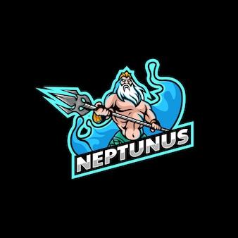 Vector logo illustration neptunus e sport e sport style