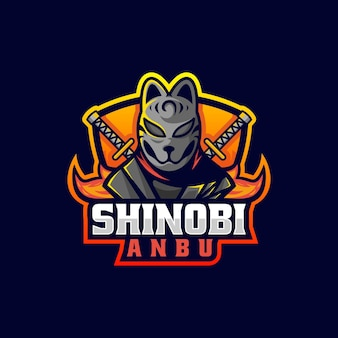 Vector logo illustration ninja e sport e sport style