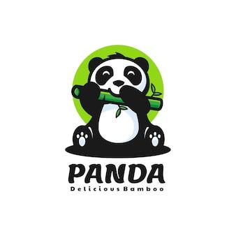 Illustrazione di logo di vettore panda mascotte stile cartone animato