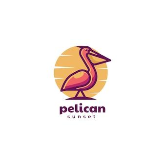 Illustrazione logo vettoriale pellicano stile mascotte semplice