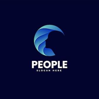 Vector logo illustrazione persone gradiente stile colorato