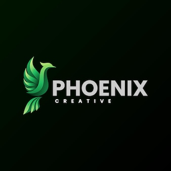 Illustrazione di logo di vettore stile variopinto di gradiente di phoenix