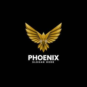 Illustrazione di logo di vettore stile variopinto di gradiente di phoenix.