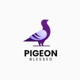 Illustrazione di logo di vettore stile variopinto di gradiente del piccione