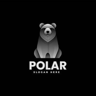 Illustrazione di logo di vettore stile variopinto di gradiente dell'orso polare