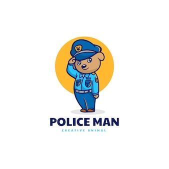 Illustrazione di logo vettoriale mascotte cane poliziotto stile cartone animato