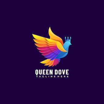 Vector logo illustration queen dove gradient colorful style.