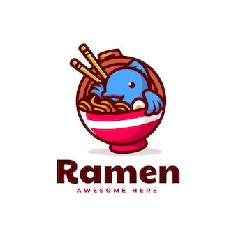Vector logo illustration ramen mascotte cartoon style