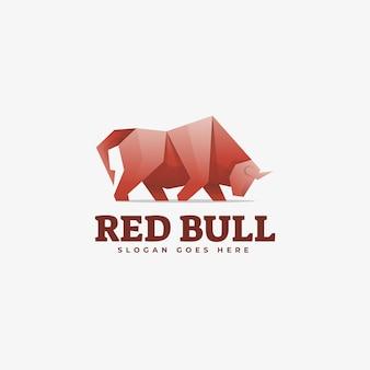 Illustrazione di logo di vettore stile variopinto di gradiente di red bull